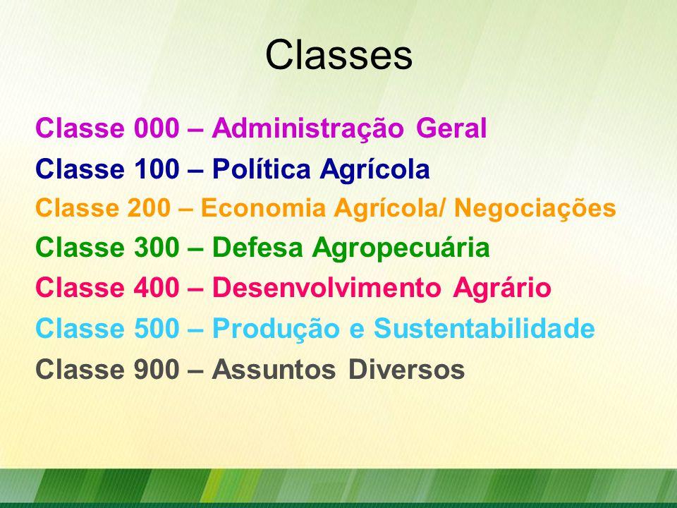 Classes Classe 000 – Administração Geral Classe 100 – Política Agrícola Classe 200 – Economia Agrícola/ Negociações Classe 300 – Defesa Agropecuária Classe 400 – Desenvolvimento Agrário Classe 500 – Produção e Sustentabilidade Classe 900 – Assuntos Diversos