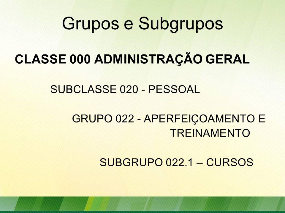 Grupos e Subgrupos CLASSE 000 ADMINISTRAÇÃO GERAL SUBCLASSE 020 - PESSOAL GRUPO 022 - APERFEIÇOAMENTO E TREINAMENTO SUBGRUPO 022.1 – CURSOS