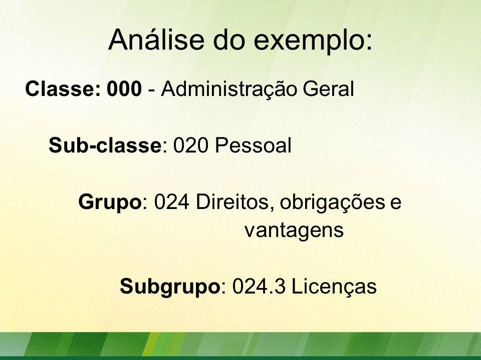 Análise do exemplo: Classe: 000 - Administração Geral Sub-classe: 020 Pessoal Grupo: 024 Direitos, obrigações e vantagens Subgrupo: 024.3 Licenças