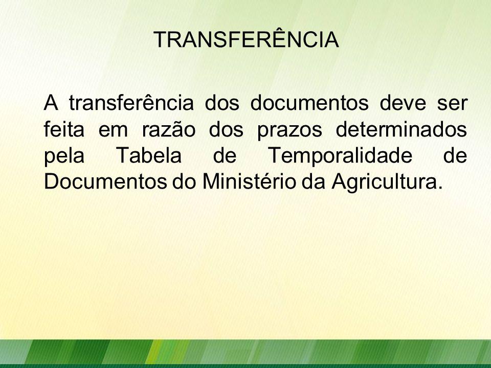 TRANSFERÊNCIA A transferência dos documentos deve ser feita em razão dos prazos determinados pela Tabela de Temporalidade de Documentos do Ministério da Agricultura.