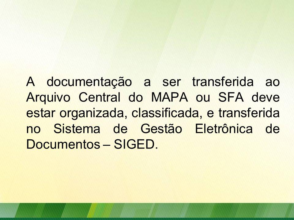 A documentação a ser transferida ao Arquivo Central do MAPA ou SFA deve estar organizada, classificada, e transferida no Sistema de Gestão Eletrônica de Documentos – SIGED.