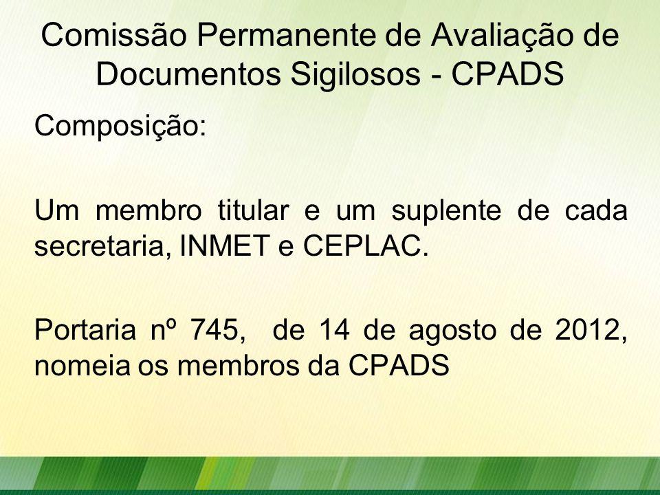 Comissão Permanente de Avaliação de Documentos Sigilosos - CPADS Composição: Um membro titular e um suplente de cada secretaria, INMET e CEPLAC.