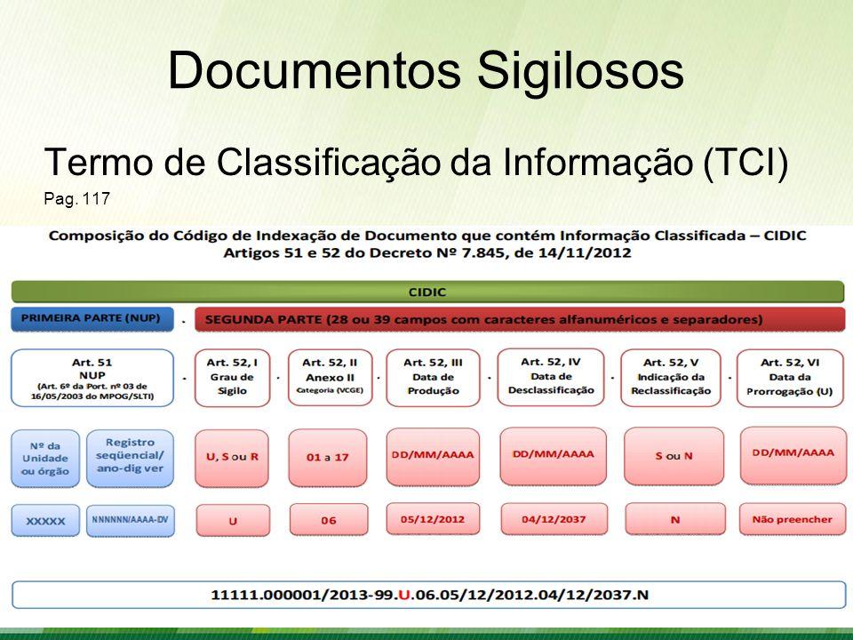 Documentos Sigilosos Termo de Classificação da Informação (TCI) Pag. 117