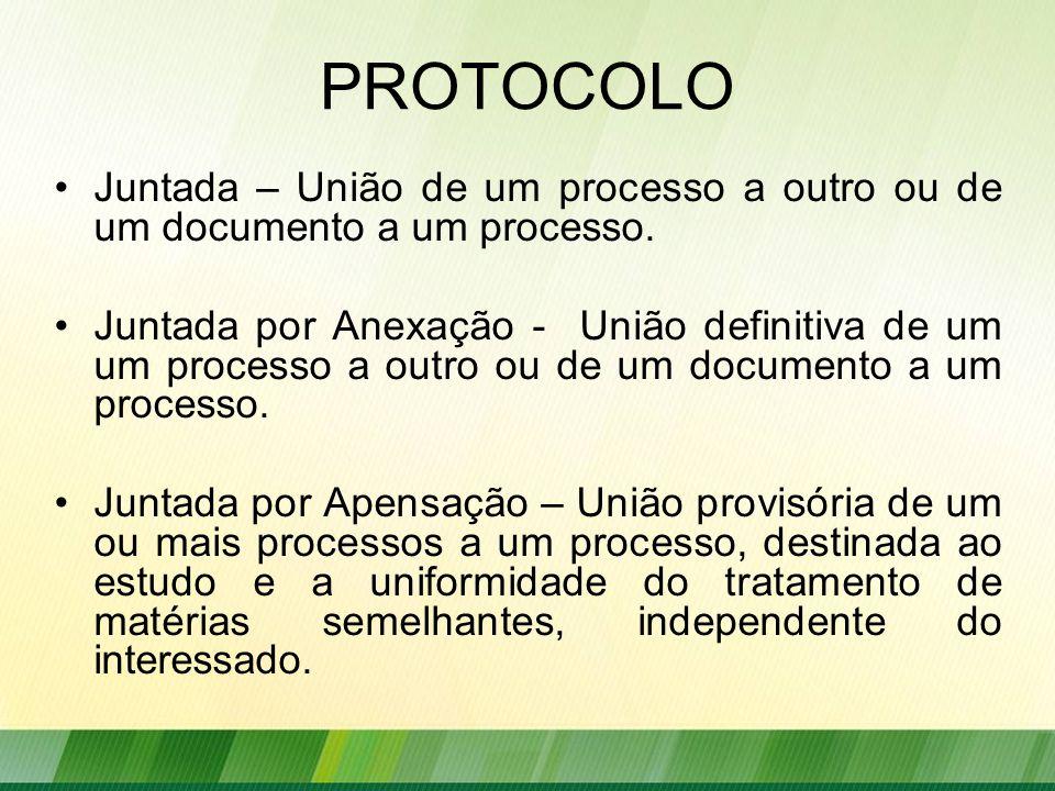 PROTOCOLO Juntada – União de um processo a outro ou de um documento a um processo.