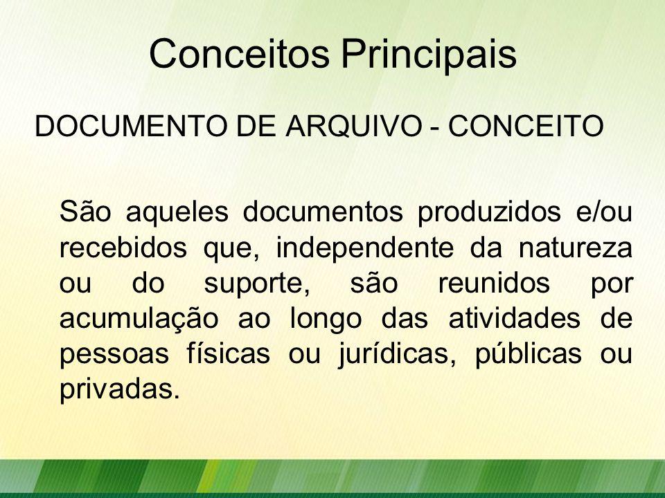 Conceitos Principais DOCUMENTO DE ARQUIVO - CONCEITO São aqueles documentos produzidos e/ou recebidos que, independente da natureza ou do suporte, são reunidos por acumulação ao longo das atividades de pessoas físicas ou jurídicas, públicas ou privadas.