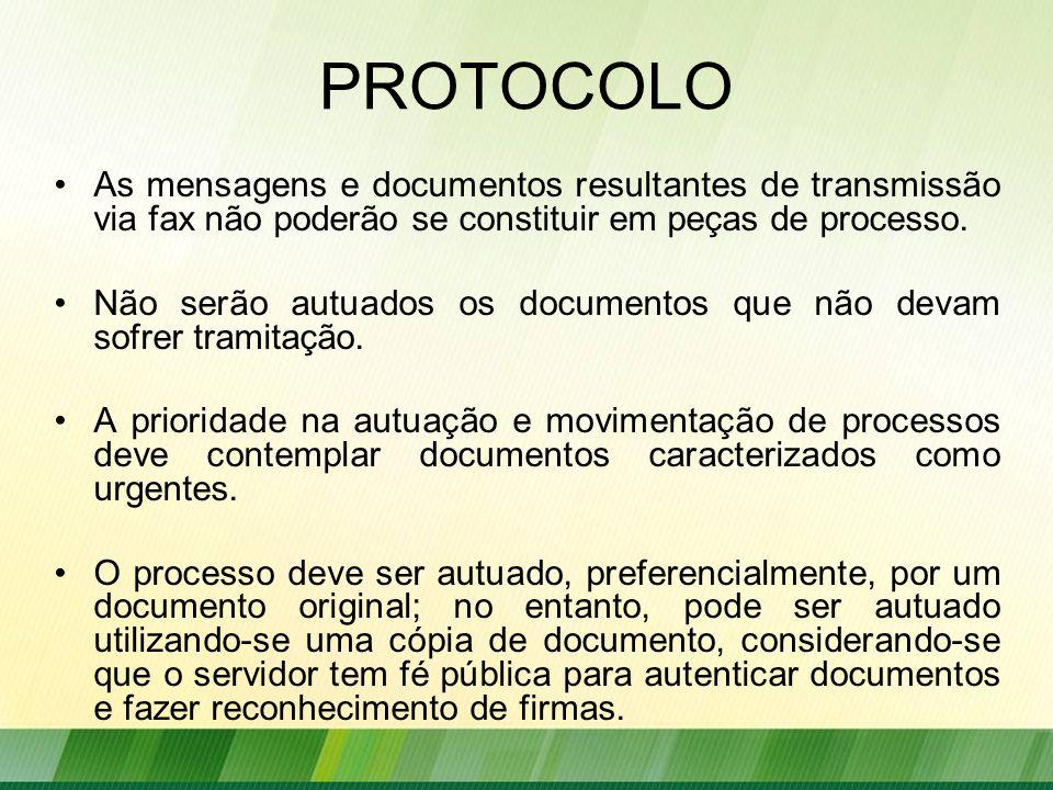 PROTOCOLO As mensagens e documentos resultantes de transmissão via fax não poderão se constituir em peças de processo.