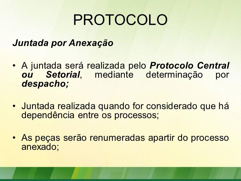 PROTOCOLO Juntada por Anexação A juntada será realizada pelo Protocolo Central ou Setorial, mediante determinação por despacho; Juntada realizada quando for considerado que há dependência entre os processos; As peças serão renumeradas apartir do processo anexado;