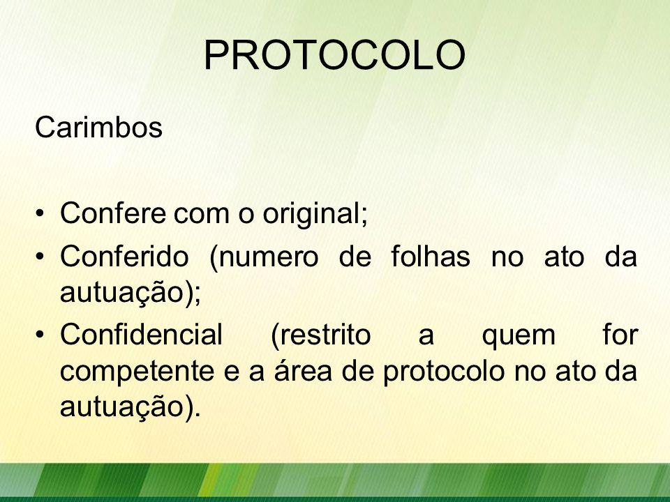 PROTOCOLO Carimbos Confere com o original; Conferido (numero de folhas no ato da autuação); Confidencial (restrito a quem for competente e a área de protocolo no ato da autuação).