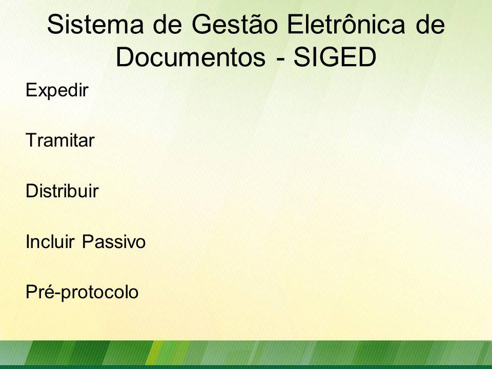 Sistema de Gestão Eletrônica de Documentos - SIGED Expedir Tramitar Distribuir Incluir Passivo Pré-protocolo