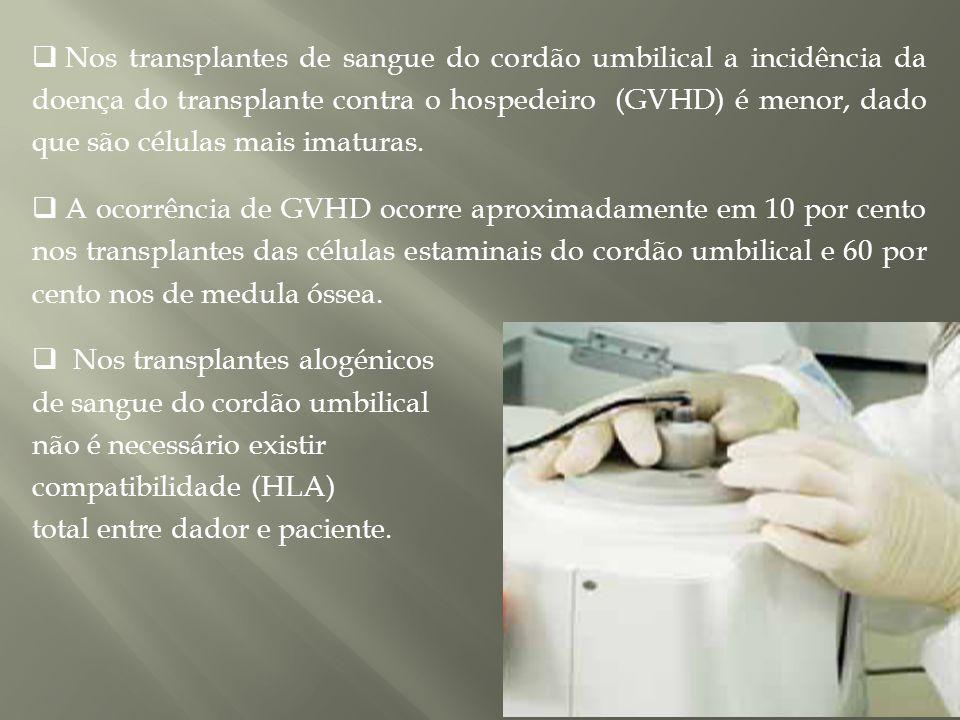  Nos transplantes de sangue do cordão umbilical a incidência da doença do transplante contra o hospedeiro (GVHD) é menor, dado que são células mais imaturas.
