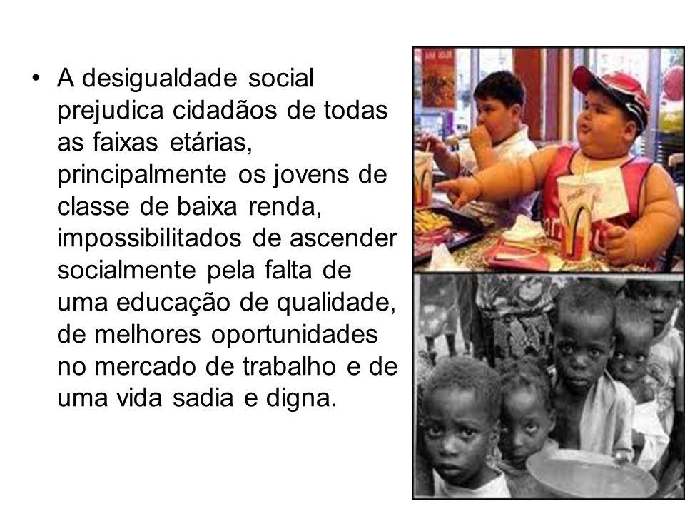 A desigualdade social prejudica cidadãos de todas as faixas etárias, principalmente os jovens de classe de baixa renda, impossibilitados de ascender socialmente pela falta de uma educação de qualidade, de melhores oportunidades no mercado de trabalho e de uma vida sadia e digna.