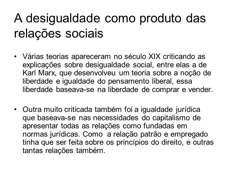 A desigualdade como produto das relações sociais Várias teorias apareceram no século XIX criticando as explicações sobre desigualdade social, entre elas a de Karl Marx, que desenvolveu um teoria sobre a noção de liberdade e igualdade do pensamento liberal, essa liberdade baseava-se na liberdade de comprar e vender.