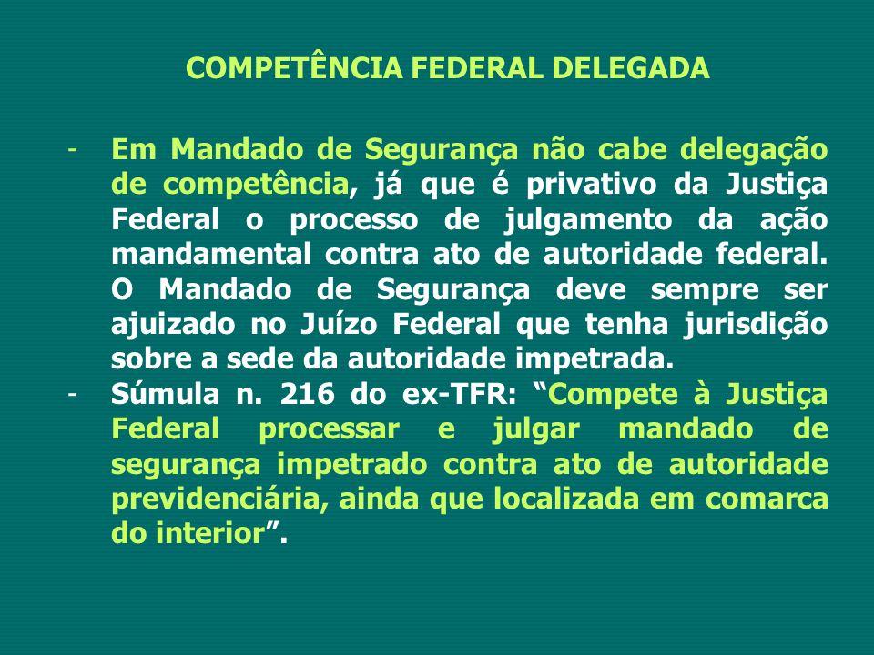 COMPETÊNCIA FEDERAL DELEGADA -Em Mandado de Segurança não cabe delegação de competência, já que é privativo da Justiça Federal o processo de julgament