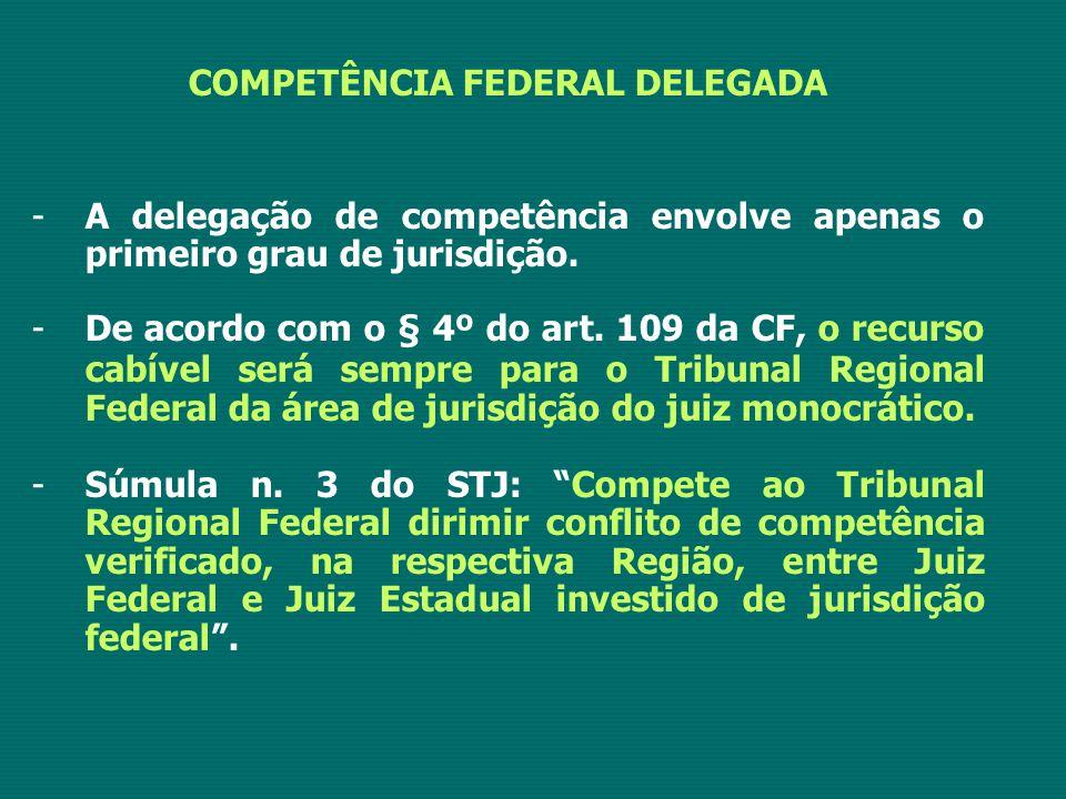 COMPETÊNCIA FEDERAL DELEGADA -A delegação de competência envolve apenas o primeiro grau de jurisdição. -De acordo com o § 4º do art. 109 da CF, o recu