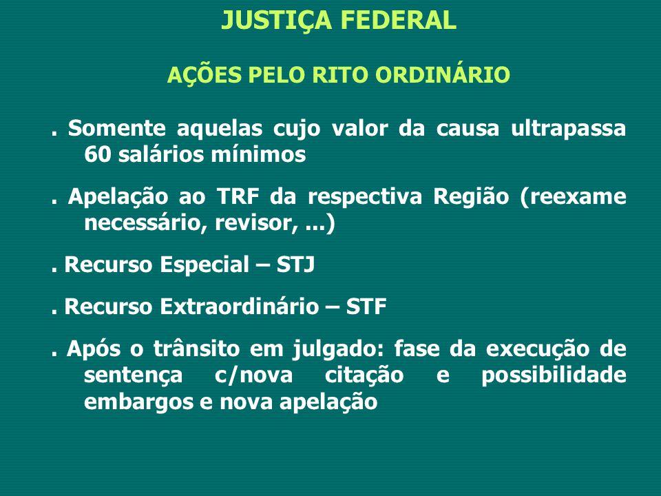 JUSTIÇA FEDERAL AÇÕES PELO RITO ORDINÁRIO.