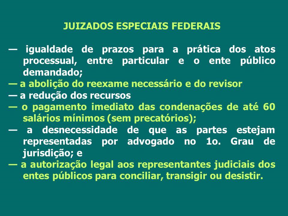 JUIZADOS ESPECIAIS FEDERAIS — igualdade de prazos para a prática dos atos processual, entre particular e o ente público demandado; — a abolição do ree