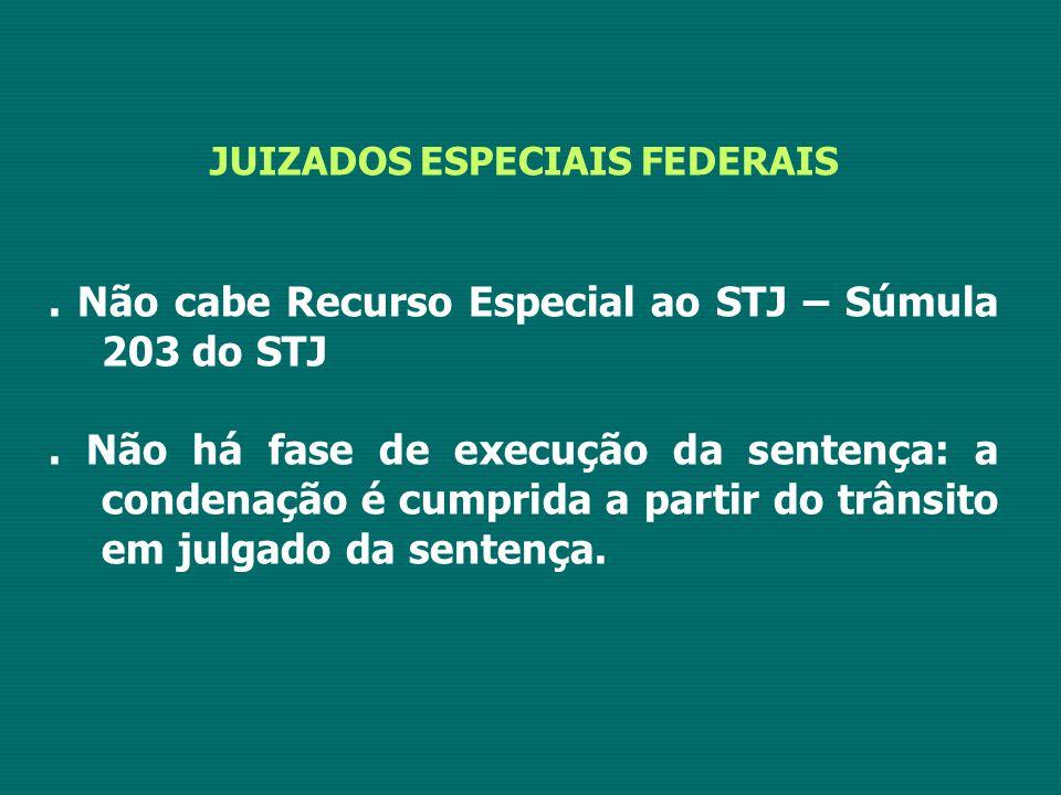 JUIZADOS ESPECIAIS FEDERAIS.Não cabe Recurso Especial ao STJ – Súmula 203 do STJ.