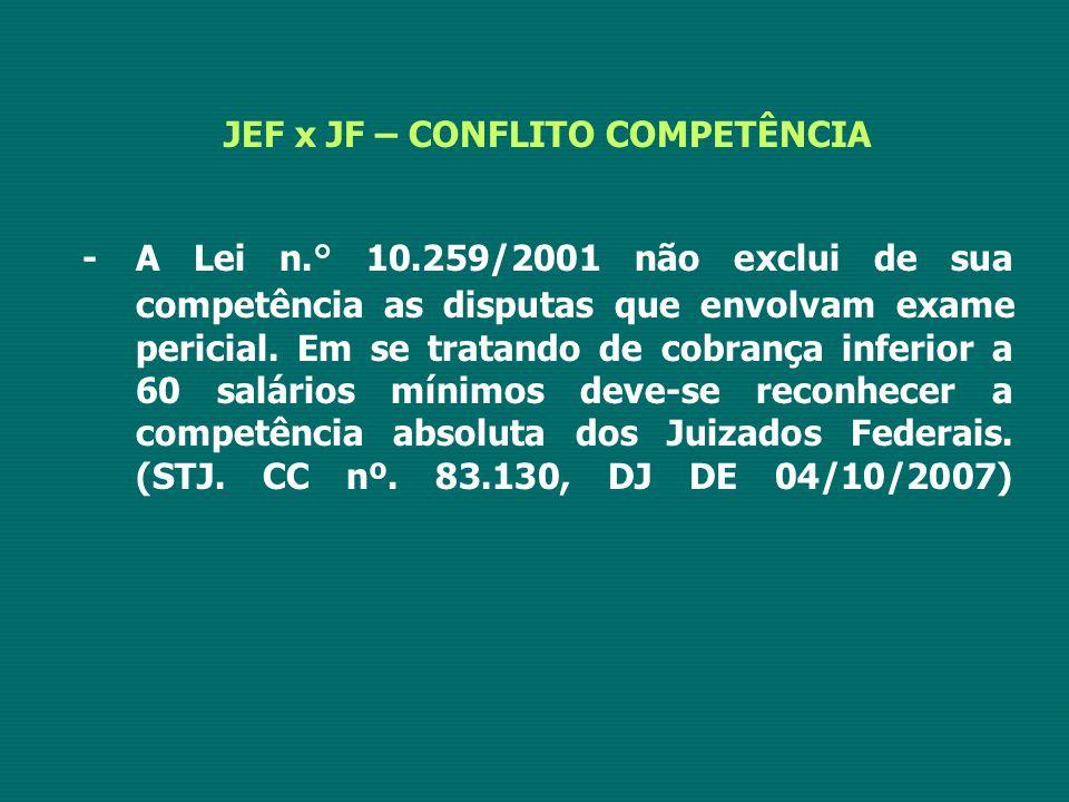 JEF x JF – CONFLITO COMPETÊNCIA -A Lei n.° 10.259/2001 não exclui de sua competência as disputas que envolvam exame pericial. Em se tratando de cobran