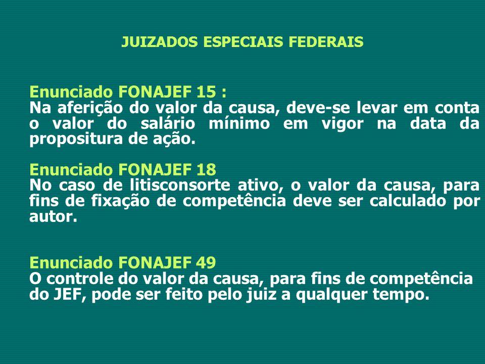 JUIZADOS ESPECIAIS FEDERAIS Enunciado FONAJEF 15 : Na aferição do valor da causa, deve-se levar em conta o valor do salário mínimo em vigor na data da propositura de ação.