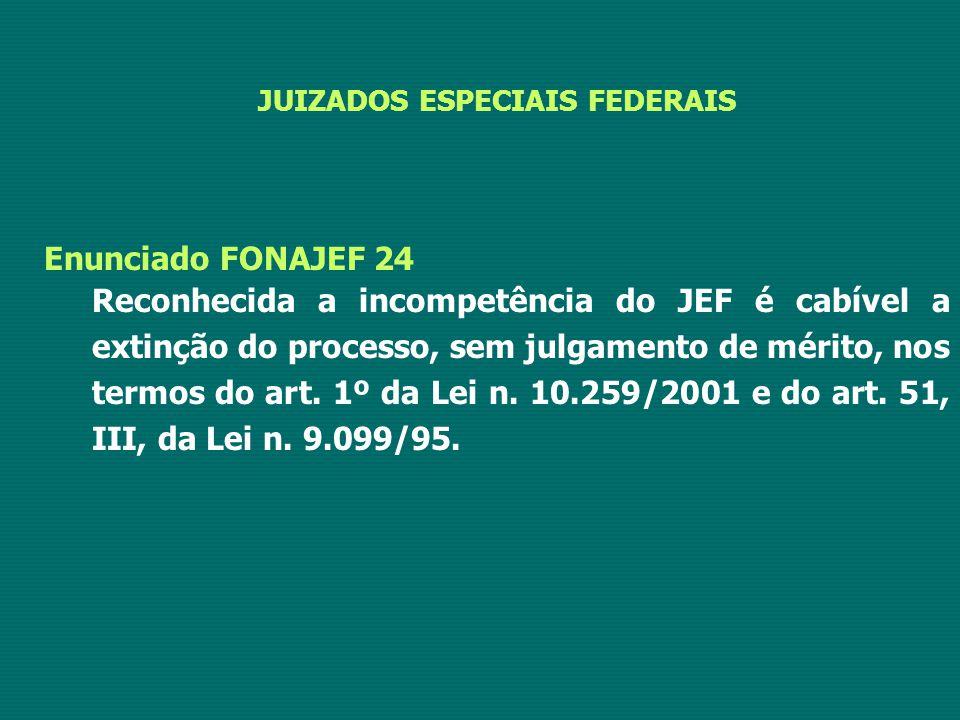 JUIZADOS ESPECIAIS FEDERAIS Enunciado FONAJEF 24 Reconhecida a incompetência do JEF é cabível a extinção do processo, sem julgamento de mérito, nos te