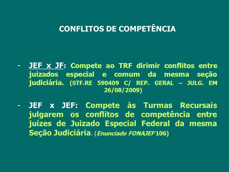 CONFLITOS DE COMPETÊNCIA -JEF x JF : Compete ao TRF dirimir conflitos entre juizados especial e comum da mesma seção judiciária. (STF.RE 590409 C/ REP