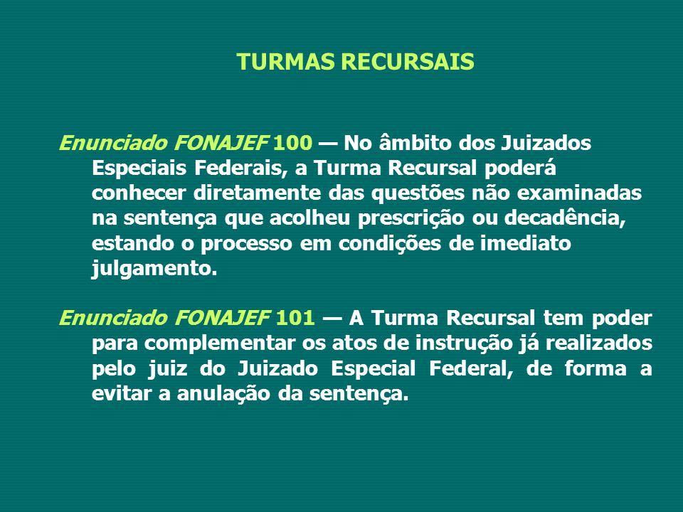 TURMAS RECURSAIS Enunciado FONAJEF 100 — No âmbito dos Juizados Especiais Federais, a Turma Recursal poderá conhecer diretamente das questões não exam