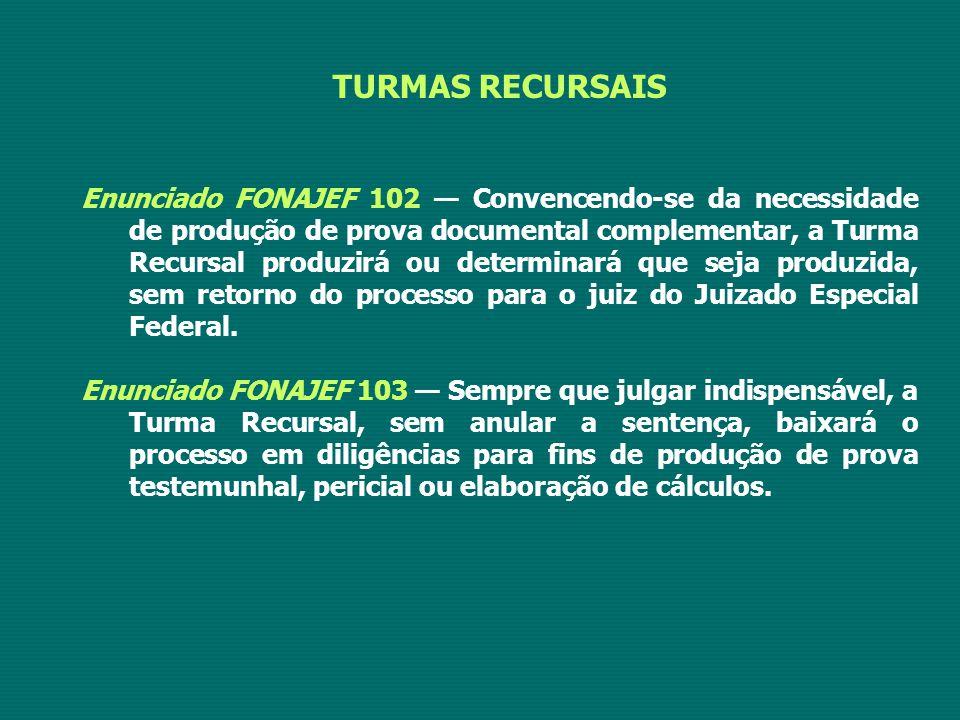 TURMAS RECURSAIS Enunciado FONAJEF 102 — Convencendo-se da necessidade de produção de prova documental complementar, a Turma Recursal produzirá ou determinará que seja produzida, sem retorno do processo para o juiz do Juizado Especial Federal.