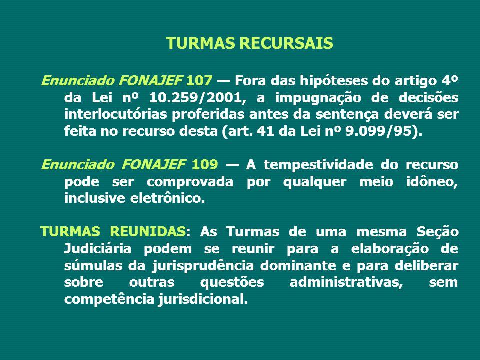 TURMAS RECURSAIS Enunciado FONAJEF 107 — Fora das hipóteses do artigo 4º da Lei nº 10.259/2001, a impugnação de decisões interlocutórias proferidas an