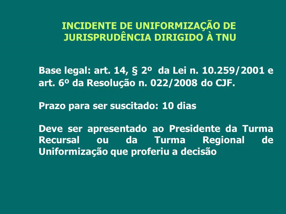INCIDENTE DE UNIFORMIZAÇÃO DE JURISPRUDÊNCIA DIRIGIDO À TNU Base legal: art. 14, § 2º da Lei n. 10.259/2001 e art. 6º da Resolução n. 022/2008 do CJF.