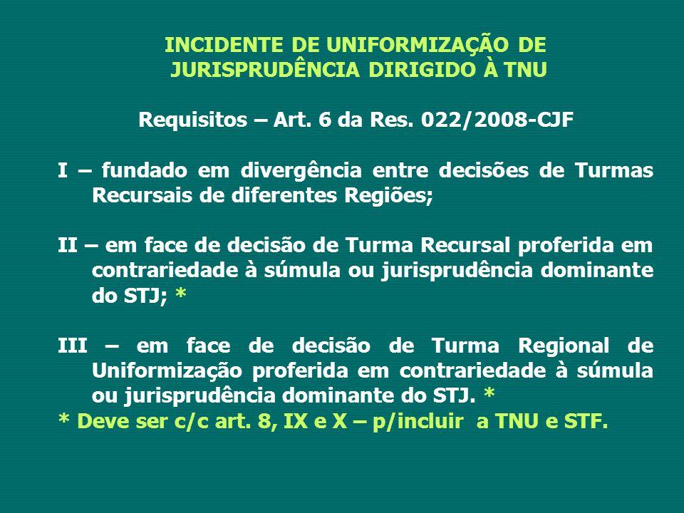 INCIDENTE DE UNIFORMIZAÇÃO DE JURISPRUDÊNCIA DIRIGIDO À TNU Requisitos – Art. 6 da Res. 022/2008-CJF I – fundado em divergência entre decisões de Turm