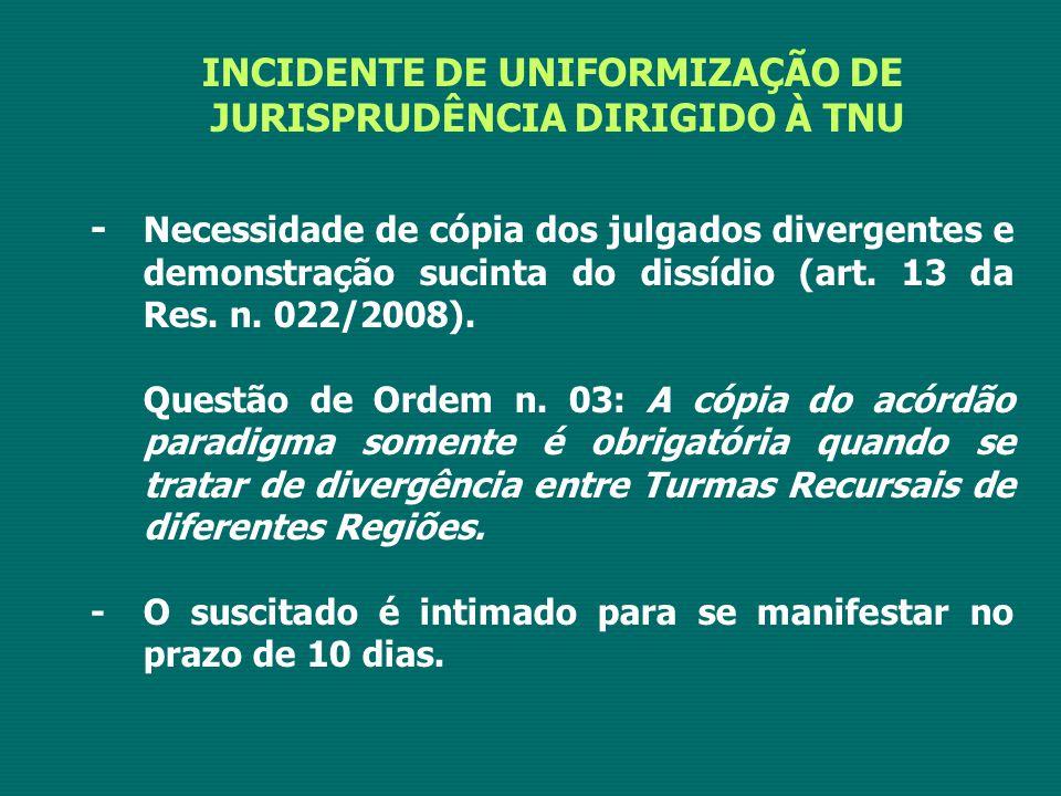 INCIDENTE DE UNIFORMIZAÇÃO DE JURISPRUDÊNCIA DIRIGIDO À TNU - Necessidade de cópia dos julgados divergentes e demonstração sucinta do dissídio (art. 1