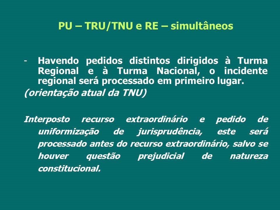 PU – TRU/TNU e RE – simultâneos -Havendo pedidos distintos dirigidos à Turma Regional e à Turma Nacional, o incidente regional será processado em prim