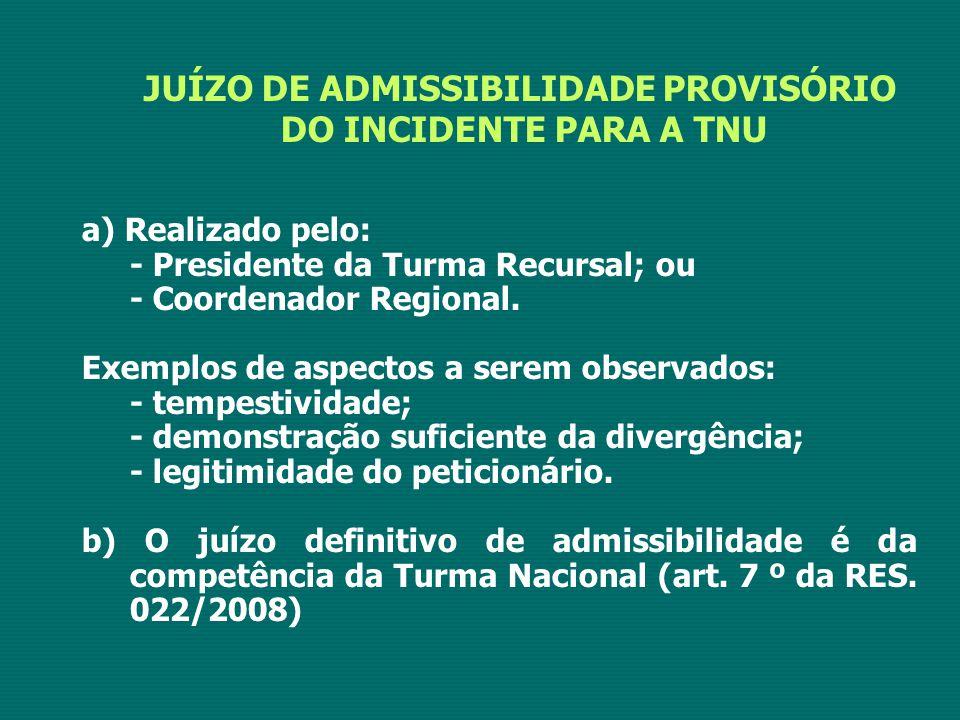 JUÍZO DE ADMISSIBILIDADE PROVISÓRIO DO INCIDENTE PARA A TNU a) Realizado pelo: - Presidente da Turma Recursal; ou - Coordenador Regional. Exemplos de