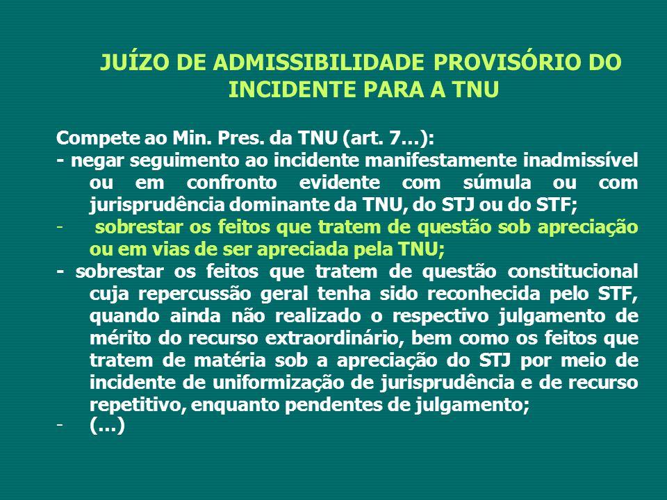 JUÍZO DE ADMISSIBILIDADE PROVISÓRIO DO INCIDENTE PARA A TNU Compete ao Min. Pres. da TNU (art. 7…): - negar seguimento ao incidente manifestamente ina