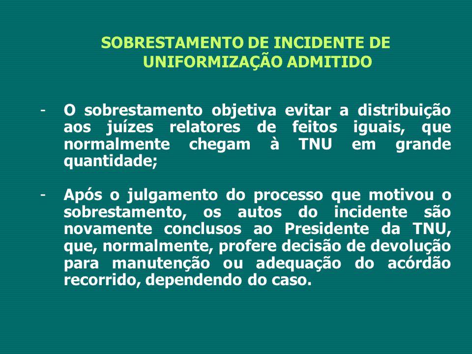 SOBRESTAMENTO DE INCIDENTE DE UNIFORMIZAÇÃO ADMITIDO -O sobrestamento objetiva evitar a distribuição aos juízes relatores de feitos iguais, que normal