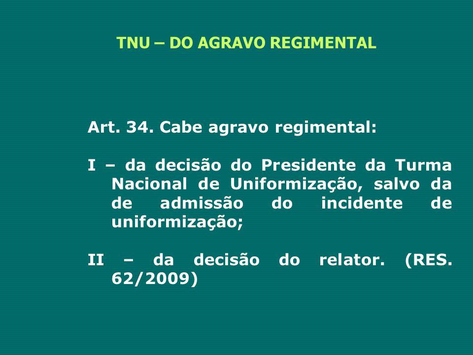 TNU – DO AGRAVO REGIMENTAL Art. 34. Cabe agravo regimental: I – da decisão do Presidente da Turma Nacional de Uniformização, salvo da de admissão do i