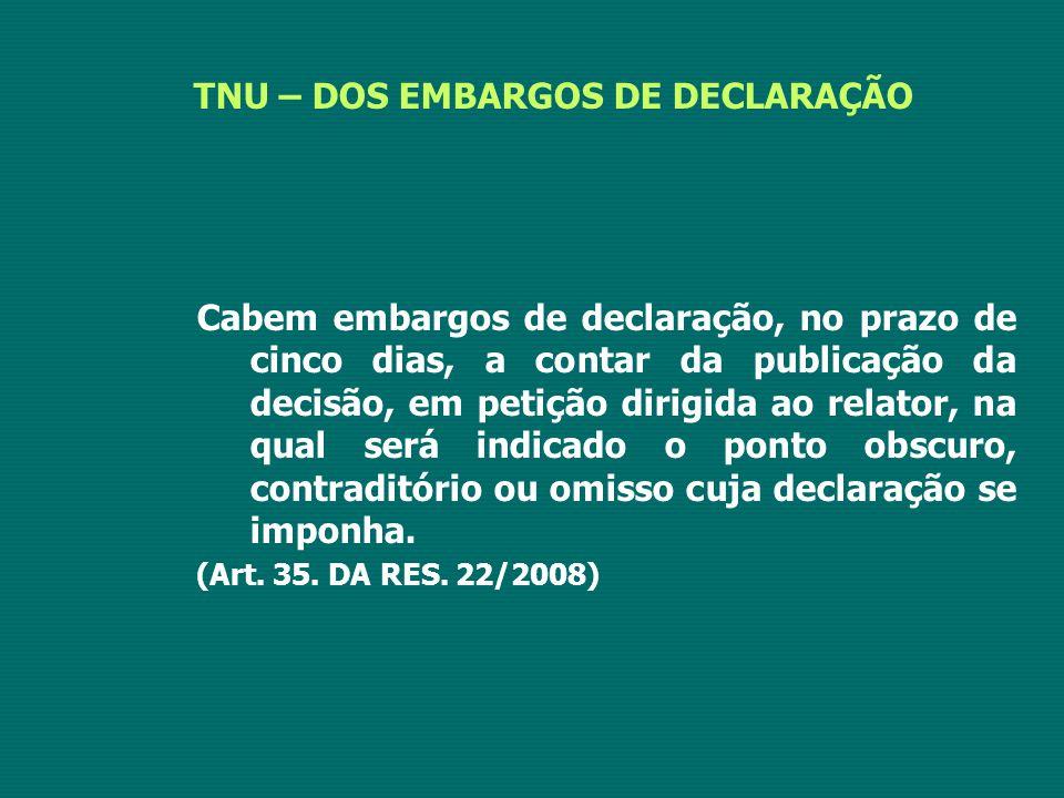 TNU – DOS EMBARGOS DE DECLARAÇÃO Cabem embargos de declaração, no prazo de cinco dias, a contar da publicação da decisão, em petição dirigida ao relat