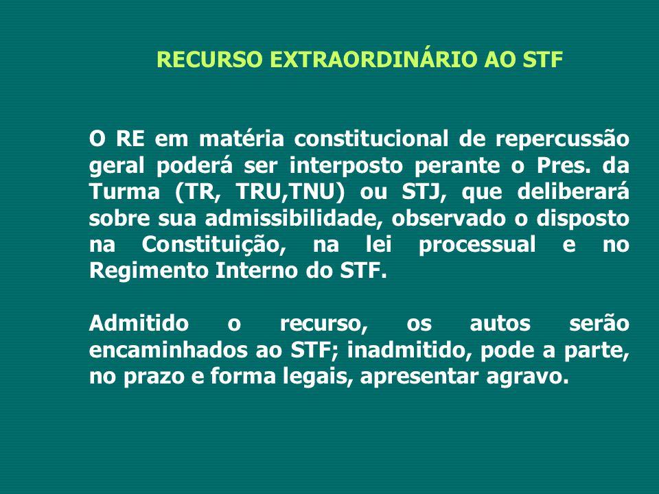 RECURSO EXTRAORDINÁRIO AO STF O RE em matéria constitucional de repercussão geral poderá ser interposto perante o Pres. da Turma (TR, TRU,TNU) ou STJ,