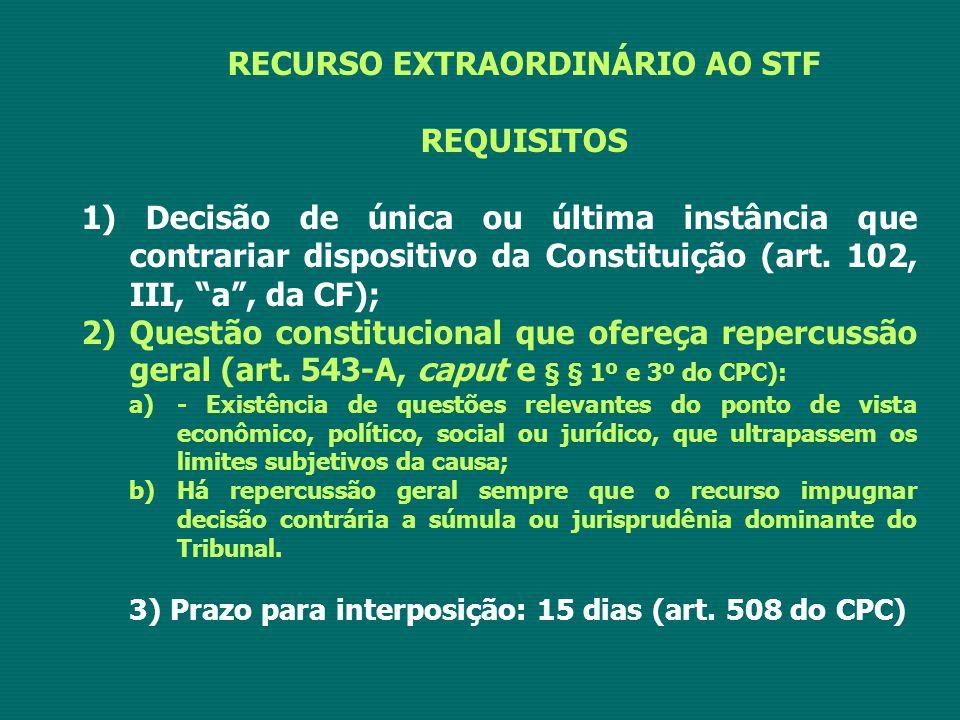 """RECURSO EXTRAORDINÁRIO AO STF REQUISITOS 1) Decisão de única ou última instância que contrariar dispositivo da Constituição (art. 102, III, """"a"""", da CF"""