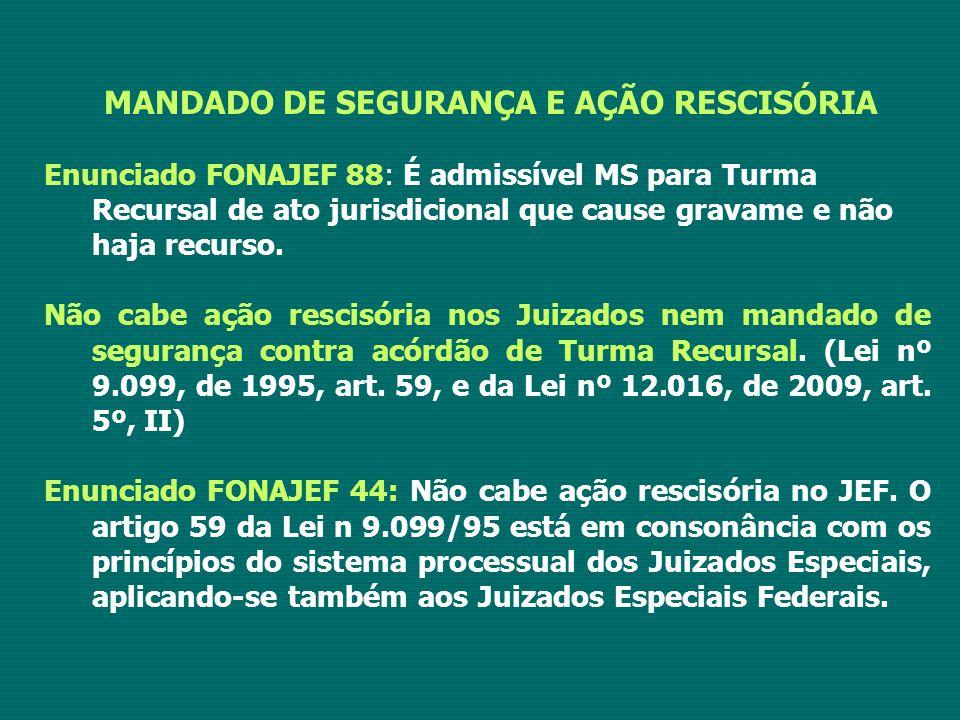 MANDADO DE SEGURANÇA E AÇÃO RESCISÓRIA Enunciado FONAJEF 88: É admissível MS para Turma Recursal de ato jurisdicional que cause gravame e não haja recurso.