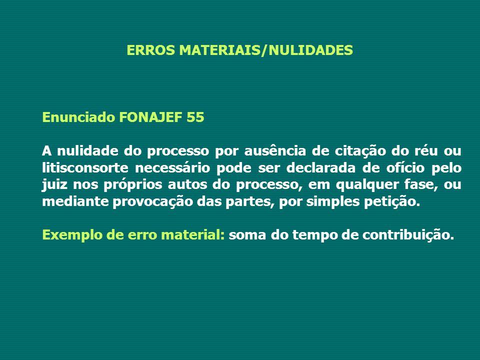 ERROS MATERIAIS/NULIDADES Enunciado FONAJEF 55 A nulidade do processo por ausência de citação do réu ou litisconsorte necessário pode ser declarada de
