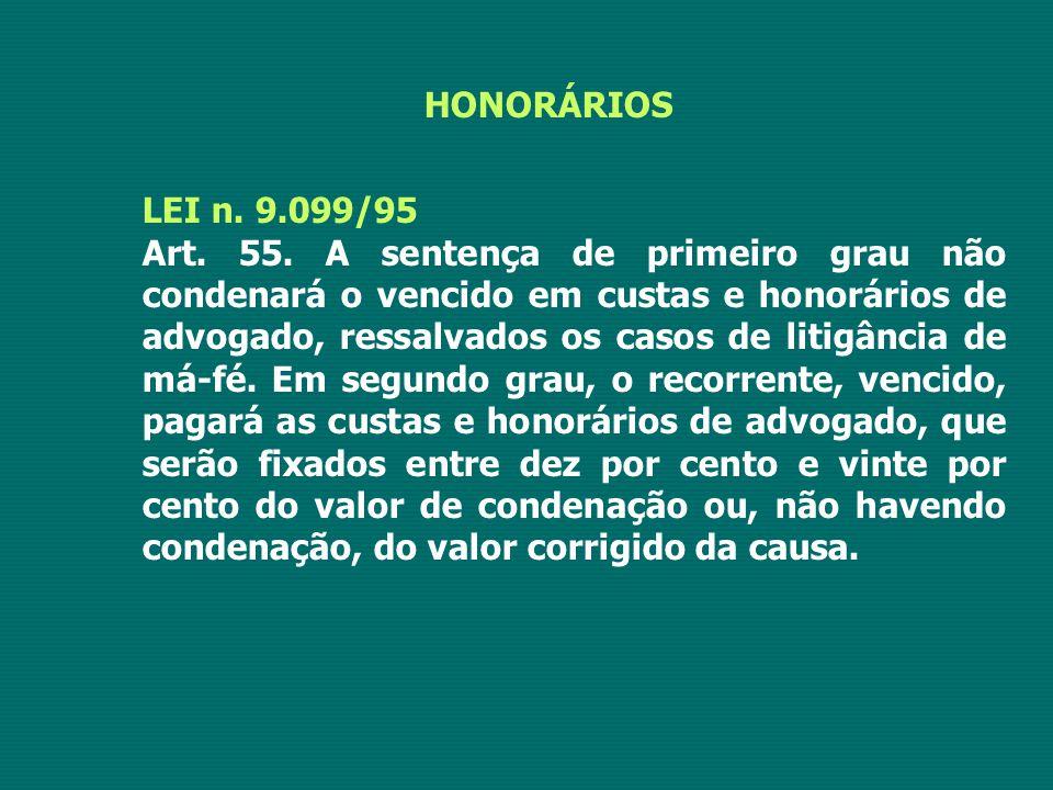HONORÁRIOS LEI n. 9.099/95 Art. 55. A sentença de primeiro grau não condenará o vencido em custas e honorários de advogado, ressalvados os casos de li