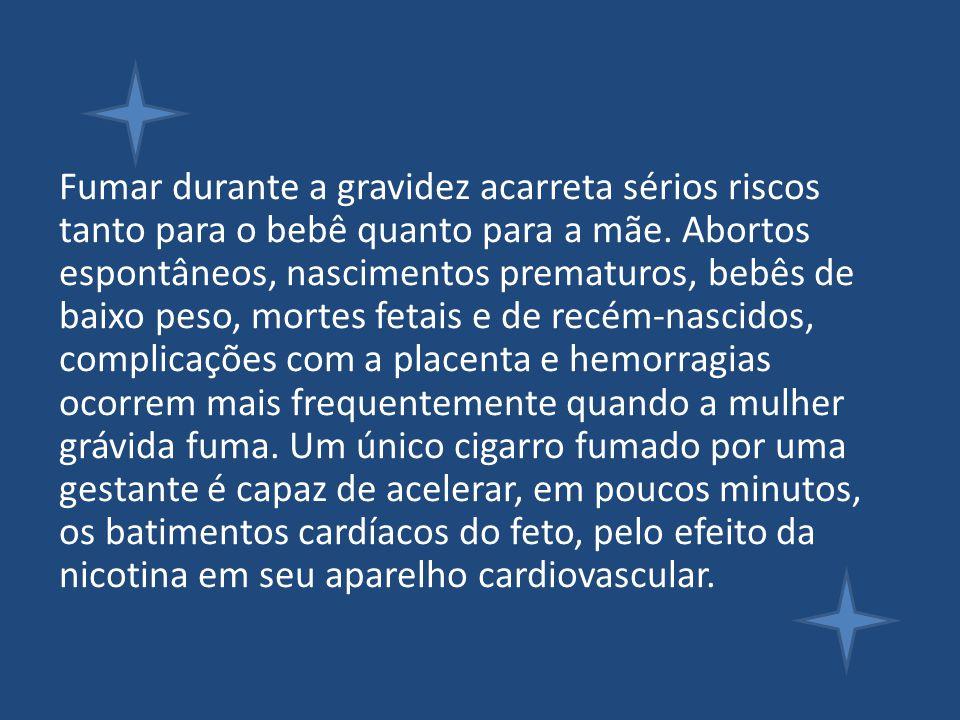 Fumar durante a gravidez acarreta sérios riscos tanto para o bebê quanto para a mãe. Abortos espontâneos, nascimentos prematuros, bebês de baixo peso,