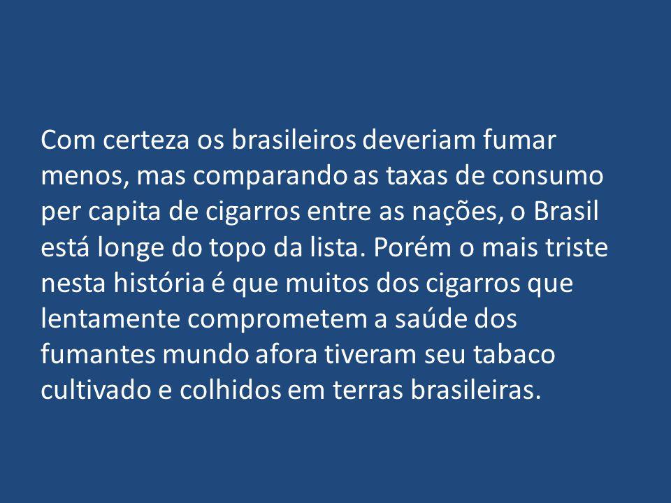 Com certeza os brasileiros deveriam fumar menos, mas comparando as taxas de consumo per capita de cigarros entre as nações, o Brasil está longe do top