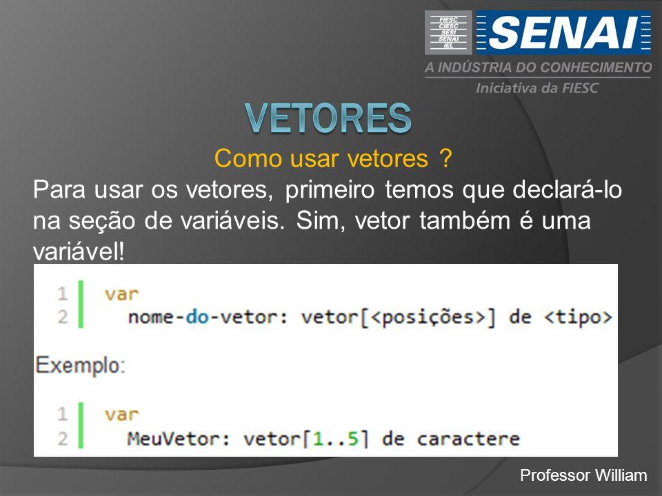 Professor William Como usar vetores ? Para usar os vetores, primeiro temos que declará-lo na seção de variáveis. Sim, vetor também é uma variável!