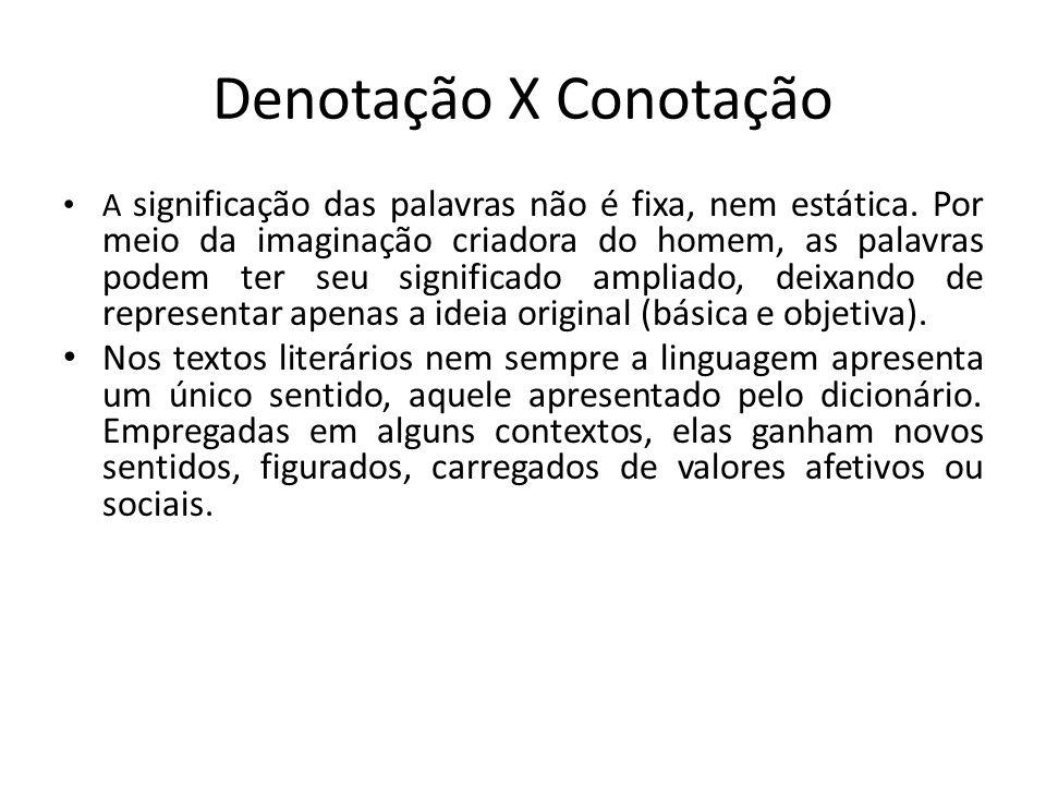 Denotação X Conotação A significação das palavras não é fixa, nem estática. Por meio da imaginação criadora do homem, as palavras podem ter seu signif