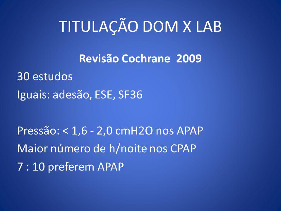 TITULAÇÃO DOM X LAB Revisão Cochrane 2009 30 estudos Iguais: adesão, ESE, SF36 Pressão: < 1,6 - 2,0 cmH2O nos APAP Maior número de h/noite nos CPAP 7