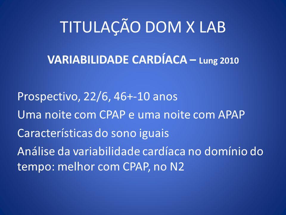 TITULAÇÃO DOM X LAB VARIABILIDADE CARDÍACA – Lung 2010 Prospectivo, 22/6, 46+-10 anos Uma noite com CPAP e uma noite com APAP Características do sono