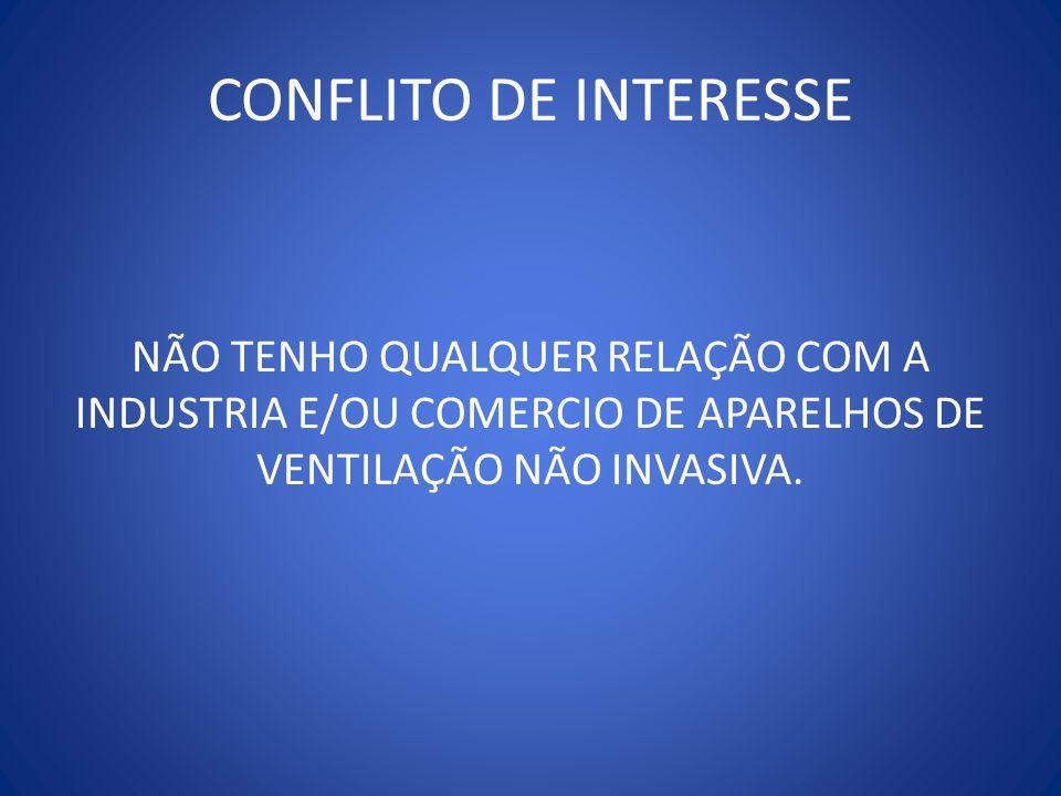 CONFLITO DE INTERESSE NÃO TENHO QUALQUER RELAÇÃO COM A INDUSTRIA E/OU COMERCIO DE APARELHOS DE VENTILAÇÃO NÃO INVASIVA.