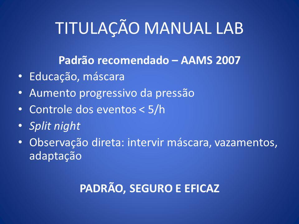 TITULAÇÃO MANUAL LAB Padrão recomendado – AAMS 2007 Educação, máscara Aumento progressivo da pressão Controle dos eventos < 5/h Split night Observação